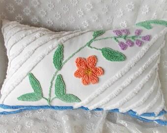 Chenille Pillow, Vintage Chenille, Accent Pillow, Cotton Pillow, Nursery Pillow, Throw Pillow,  Decorative Pillow, Large Pillow, Pillow #A13