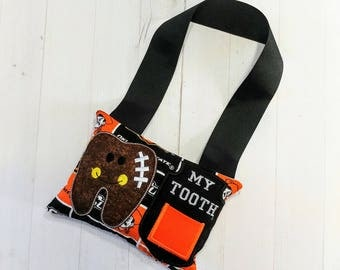 College Football themed Tooth fairy pocket pillow with OSU printed fabric