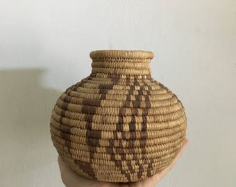 vintage native american coil woven papago bowl basket. geometric geometric wedding basket papago vessel