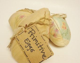Primitive Fabric Eggs Set of 3, Primitive Easter Decor, Vintage Quilt Eggs, Country Farmhouse Decor