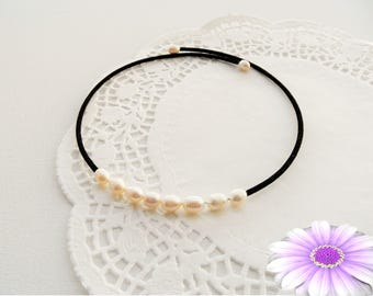 Pearl Choker Necklace - Velvet and Pearl Choker - Elegant Necklace - Mother's Day Gift