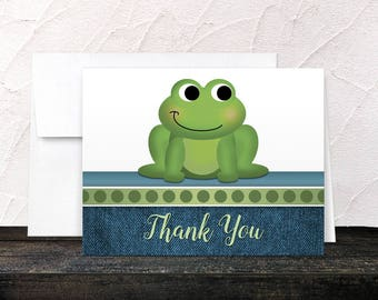 Frog Thank You Cards - Rustic Denim Cute Froggy Green with Blue - Blank Inside - Printed Cards
