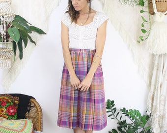Vintage Plaid Skirt, 70s Pink Purple plaid High waist Skirt, XS 3606