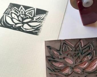 Succulent Original Linocut 4 x 6 Inches