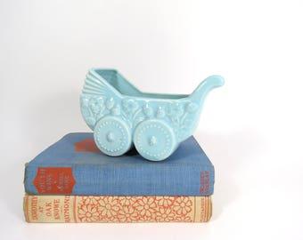 Pottery Baby Planter // Vintage Aqua Blue Glaze Baby Stroller Mid Century Modern Succulent Container Flower Pot New Baby Gift Idea Shower