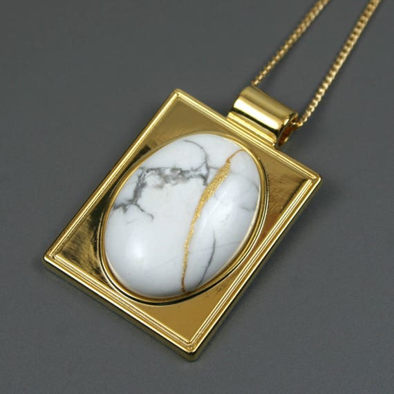 Kintsugi (kintsukuroi) howlite stone cabochon with gold repair in a rectangular gold plated setting on gold chain - OOAK