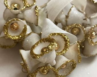 Bells Christmas Vintage Millinery Corsage Gold Glitter Silver Glitter White Chrismtas Vintage Stock Paris French Christmas