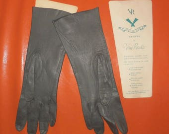 Unworn Vintage 1950s Gloves Dark Gray Kidskin Gloves Van Raalte Midlength Washable Kid Gloves Elegant