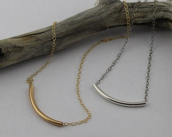 Modern Curved Tube Necklace, 14K Gold Filled or Sterling Silver on a 16, 17, 18, 19 or 20-Inch Cable Chain, Everyday Necklace, Woman's Gift