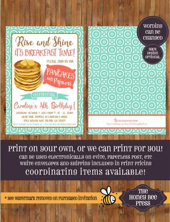 evite design your own pancakes and pajamas birthday invitation pancakes and pjs
