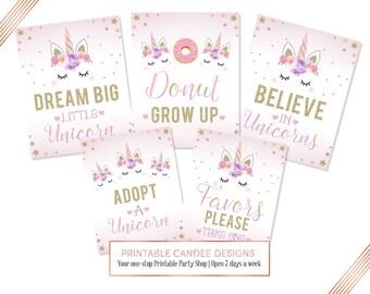 Unicorn Party Sign Bundle, Dream Big Unicorn, Birthday Signs, Unicorn Table Sign, Printable Party Sign, Instant Download, Jpeg pdf