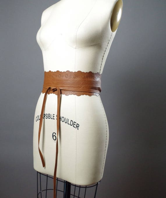 Vegan Leather Obi Belt - Rustic Brown Leather Obi Belt - Women's Wrap Belt - Up-cycled Obi Belt - Boho