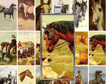 Printable Vintage Horses Digital Collage Sheet - 1x2 inch Domino - JPEG - Clip Art - Instant Download - Downloadable - Commercial use / Cu