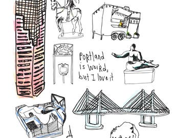 Portland Card, PDX Greeting Card, Art Card, Illustrated Card, Blank Note Card