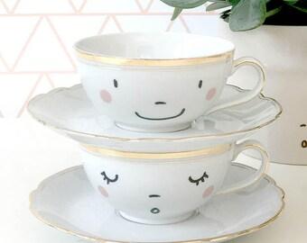 Vintage printed happy Coffee / Tea Cups