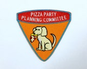 pizza party patch || dog patch / pizza patch / iron on patch / cute patch / embroidered patch / patches for jackets / sew on patch
