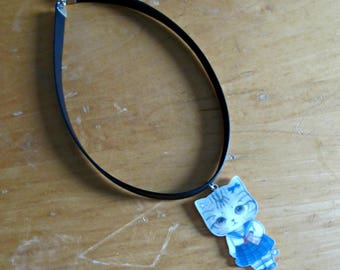 Choker ''Chat-Chat'' //  Choker necklace with cat pendant
