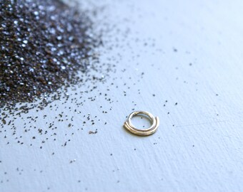 Double Septum ring - silver and 14k gold