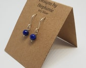 Tiny Lapis Lazuli Navy Blue Drop Earrings. Small Dainty 925 Sterling Silver Drop Earrings. 6mm Lapis Sphere. Designs by Stephanie