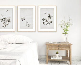 Rustic Farmhouse Bedroom Wall Decor Butterfly Set Beige Art Modern