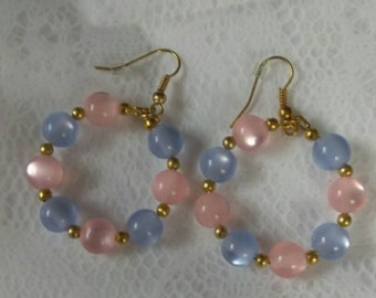 Pink/Ice Blue Gold Hoops