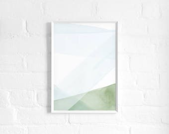Blue and Green Abstract A3 Art Print, Watercolour Strokes, Abstract Landscape Poster, Minimalist Art, Light Modern Abstract Art, Wall Decor
