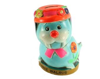 Mid Century Winnie Walrus Chalkware Coin Bank or Piggy Bank Lego Japan Vintage