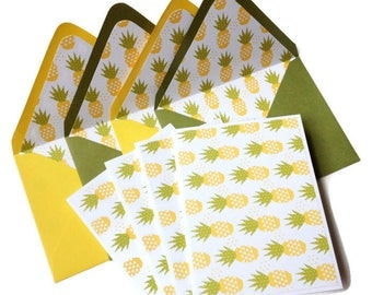 Set of 4 // Note Cards // Blank Note Cards // Pineapple Stationery //  Pineapple Note Cards // Stationery Set / Notecards / Blank Stationery