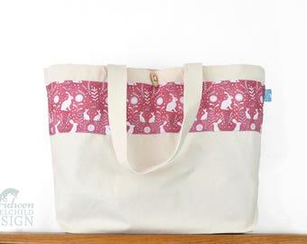 Floral Hares Large Tote Bag, Canvas Tote, Reusable Shopper Bag, Cotton Tote, Shopping Bag, Eco Tote Bag, Reusable Grocery Bag
