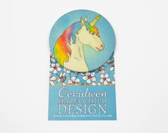 Unicorn Badge, 55mm Badge, Fabric Badge, Large Pin Badge, Party Favour, Party Bag Filler, Unicorn Gift, Stocking Filler, Unicorn Party