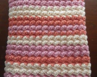 Prettiest Crochet Bobble Baby Blanket in Peach and Pink Handmade Soft Stripes Afghan Shower Gift Bedding Nursery Receiving Girl Lapghan Lap