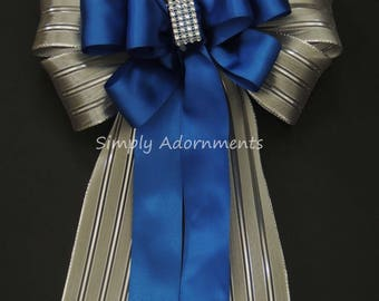 Blue Silver Christmas Decor Royal Blue Silver Wedding Pew Bow Royal/Cobalt Blue Silver Birthday Party Ceremony Chair Bow Wedding Aisle Decor