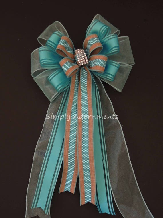 Aqua Turquoise Burlap Christmas Wreath Bow Aqua Turquoise Wedding Pew Bow Turquoise Church Aisle Pew Bow Blue dots Baby Shower Party Decor