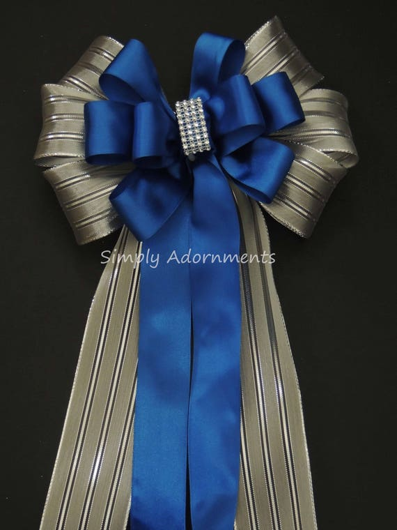 Blue Silver Christmas Decor Royal Blue Silver Wedding Pew Bow Royal/Cobalt Blue Silver Birthday Party Ceremony Chair Bow Wedding Aisle Decor