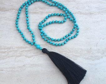 Black Tassel Necklace Turquoise Beaded Tassel Necklace Hand Knotted Beaded Tassel Necklace Statement Necklace Long Silk Tassel Necklace