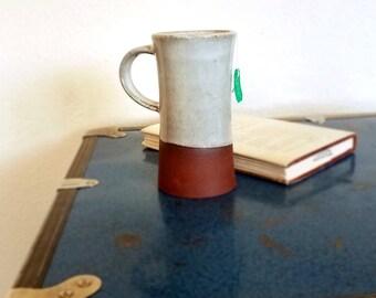 Ceramic mug, white, red stoneware, unique mug, wheel thrown pottery, stein, coffee mug