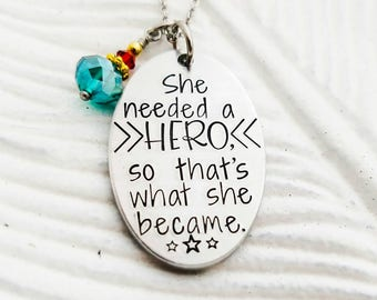 Woman hero necklace, She needed a hero so that's what she became, Woman empowerment necklace, Wonder Woman inspired, Superhero jewelry