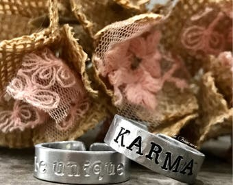 Custom Aluminum Ring - Hand Stamped Band - Adjustable - Karma - Be Unique - Saying Jewelry - Personalized - Made in the USA