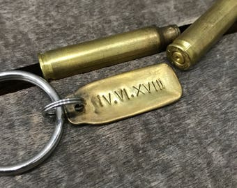 Custom Shell Casing Keychain - Brass Bullet - Flattened and Hand Stamped with Date , Name , Saying of Your Choice - Great Groomsmen Gift