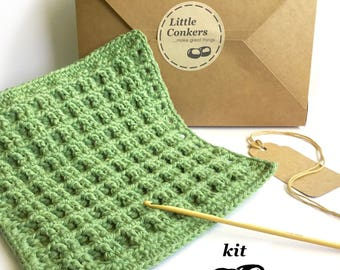 Crochet Kit / DIY Kit Crochet Dishcloth Kit / Simple Beginner Crochet Kit / Gift for Crocheter / Dishcloth Pattern Kitchen Hotpad Potholder