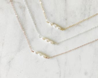 The Ema - Triple Freshwater Pearl Necklace - 14k Gold Pearl Necklace - Dainty Pearl Necklace - Feminine Jewelry - Simple Pearl Necklace