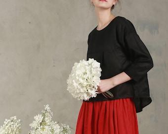 black linen blouse tunic top, three quarter sleeve shirt, linen shirt, oversize linen tunic, black blouse, black shirt, draped blouse, plus
