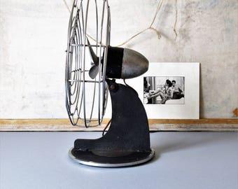 Vintage electric desk fan, Air Castle fan, Art Deco style fan, mid century desk fan, black and chrome  fan, propeller blade fan