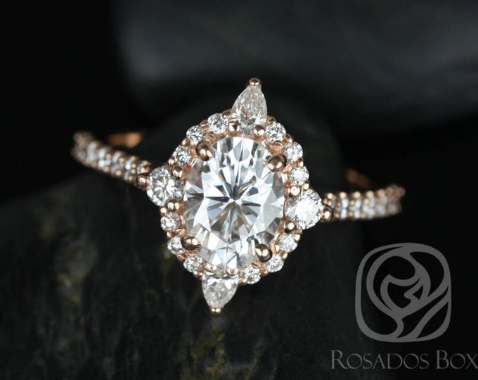 Featured listing image: Rosados Box Jadis 8x6mm 14kt Rose Gold Oval F1- Moissanite and Diamonds Star Halo Engagement Ring