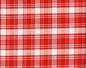 Rust & Cream Plaid, Williamsburg Hennessy Plaid, Windham Fabrics, Woven Cotton Quilting Fabric, By the Half yard