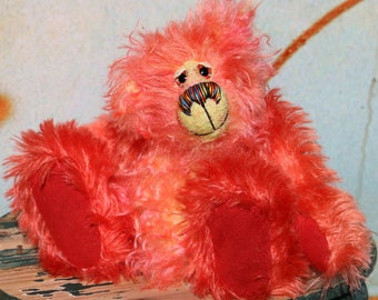 Willie Wonder is a wonderful, fluffy and beautifully coloured, one of a kind, hand dyed mohair artist teddy bear by Barbara-Ann Bears.