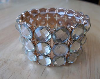 3 Row Gold and Clear Beads Wide Stretch Cuff Bracelet