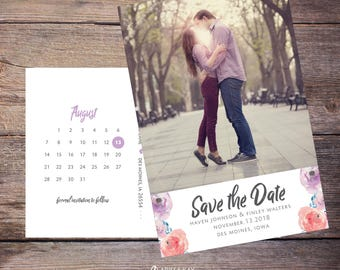 Save the Date Postcard, Save-the-Date Invite, Flowers, Floral, Card, Photo, DIY Printable, Digital File –Haven
