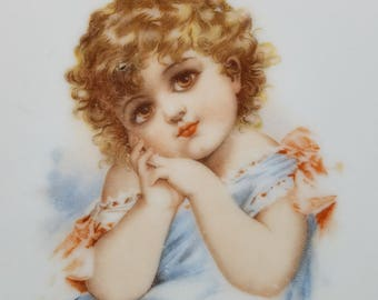 Beautiful Antique Portrait Plate Sweet Young Child Early 1900s