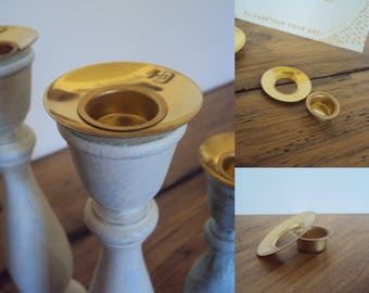 """Gold Candle Holder Insert with Optional Drip Cup - Metal Candle Inserts for Taper Holders - Brass Candlestick Insert - 7/8"""" and 1/2"""" size"""